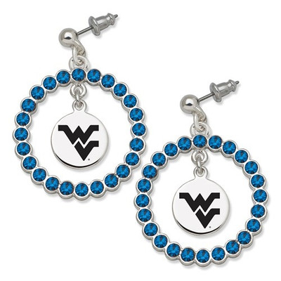 WV Mountaineers Spirit Crystal Logo Wreath Earrings