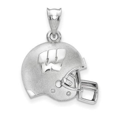 Wisconsin Badgers Sterling Silver 3D Football Helmet Pendant