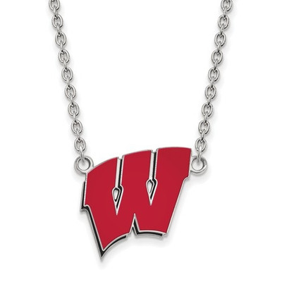 Wisconsin Badgers Sterling Silver Enamel Pendant Necklace