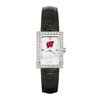 Wisconsin Badgers Women's Allure Black Leather Watch