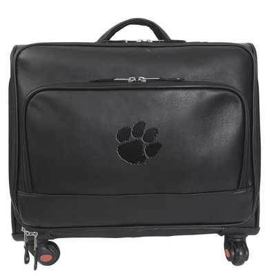 Clemson Tigers Leather Wheeled Overnight Bag