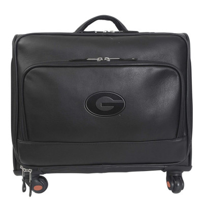 Georgia Bulldogs Leather Wheeled Overnight Bag