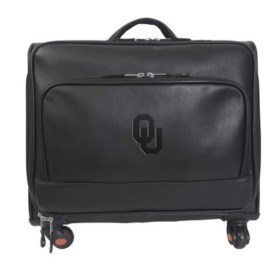 Oklahoma Sooners Leather Wheeled Overnight Bag