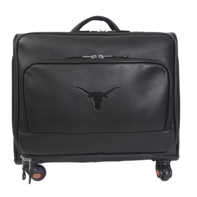 Texas Longhorns Leather Wheeled Overnight Bag
