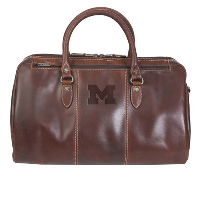 Michigan Wolverines Leather Niagara Canyon Duffle Bag