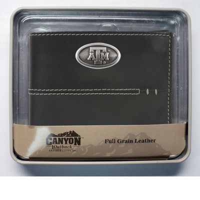 Texas A&M Aggies Zippered Leather Bi Fold Wallet