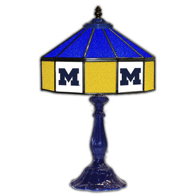 Michigan Wolverines 21 in Glass Table Lamp