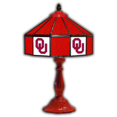 Oklahoma Sooners 21 in Glass Table Lamp