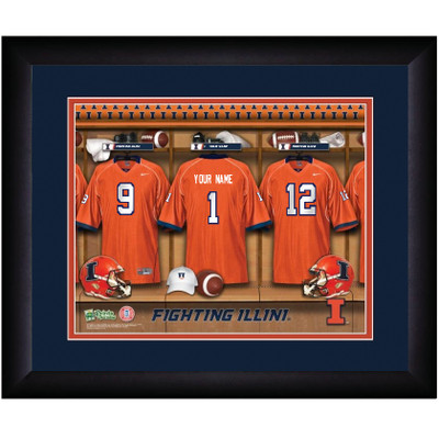 Illinois Fighting Illini Personalized Locker Room Print