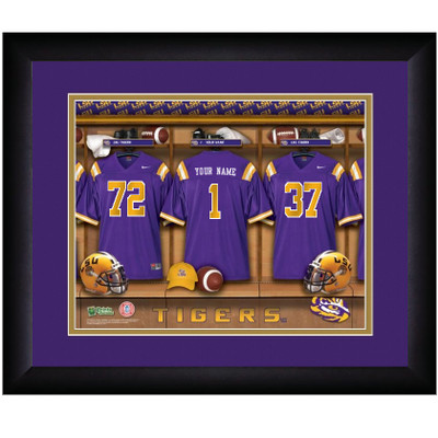 LSU Tigers Campus Personalized Locker Room Print