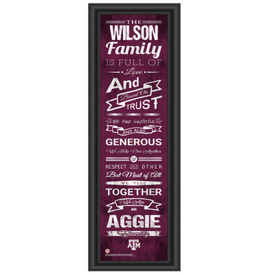 Texas A&M Aggies Personalized Family Cheer Print