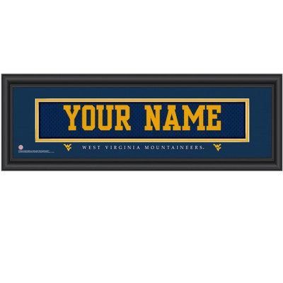 West Virginia Mountaineers Personalized Jersey Stitch Print | Get Letter Art | WTVAJERS