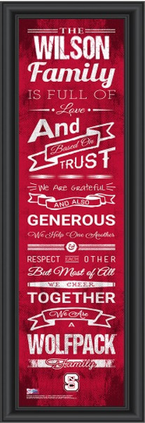 NC State Wolfpack Personalized Family Cheer Print