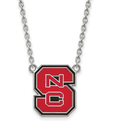 NC State Wolfpack Sterling Silver Large Enamel Pendant Necklace