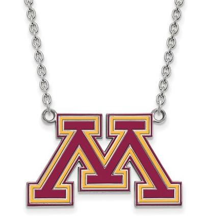 Minnesota Golden Gophers Sterling Silver Large Enamel Pendant Necklace