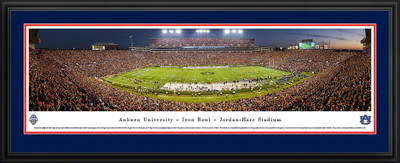 Auburn Tigers Panoramic Photo Deluxe Matted Frame - 50 Yard Line