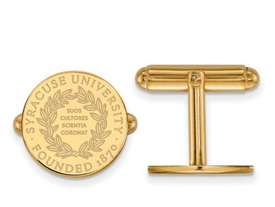 Syracuse University Sterling Silver Gold Plated Crest Cuff Links