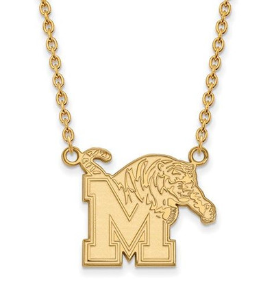Memphis Tigers Sterling Silver Gold Plated Large Pendant Necklace