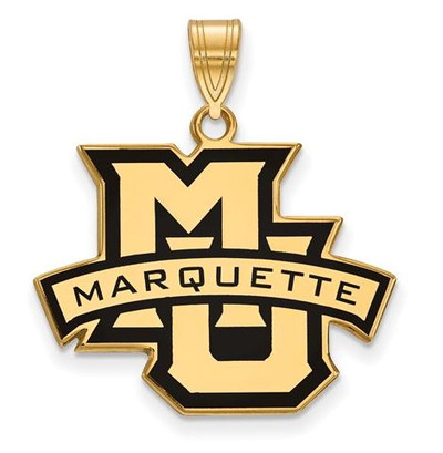 Marquette University Sterling Silver Gold Plated Large Enameled Pendant
