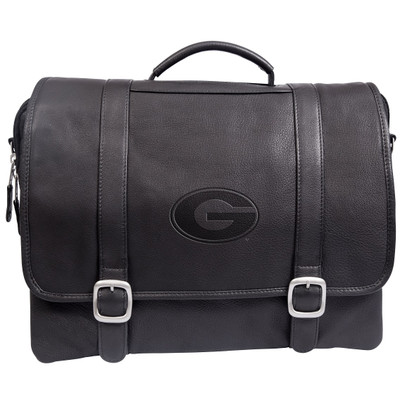 Georgia Bulldogs Cross Body Leather Laptop Briefcase