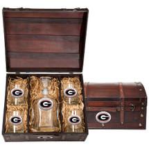 Georgia Bulldogs Decanter Chest Set   Heritage Pewter   CPTC10005ER