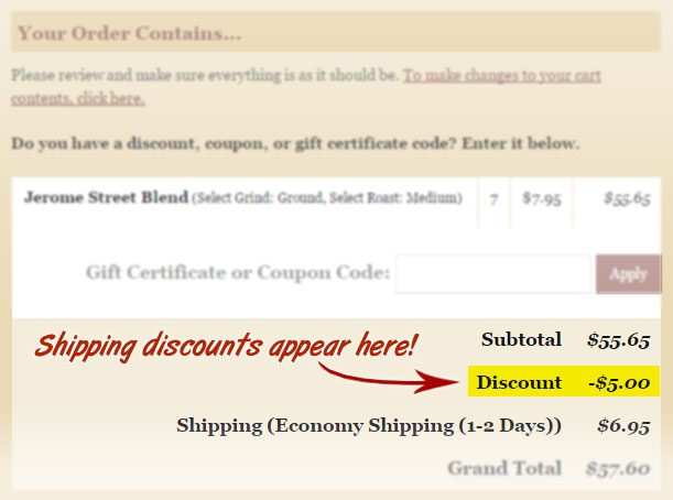 Shipping Discounts appear during checkout as shown in the image