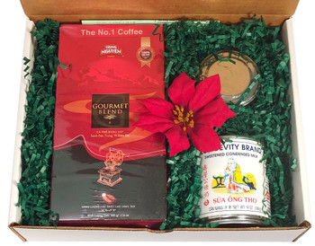 Traditional Vietnamese Coffee Kit - Coffee, Phin, Mini-Milk ##for 500g Vietnamese coffee, condensed milk, and Phin brewer##