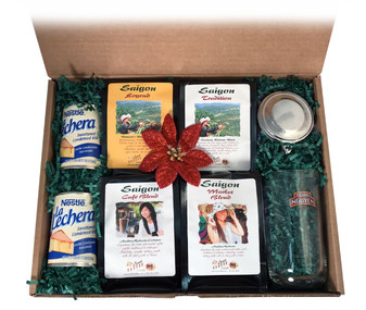 ##for a Vietnamese coffee kit with four Saigon Blends, condensed milk, and Phin filter/brewer##