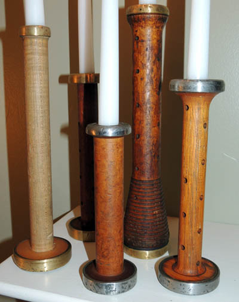 Antique Wood Bobbin Candlestick Set