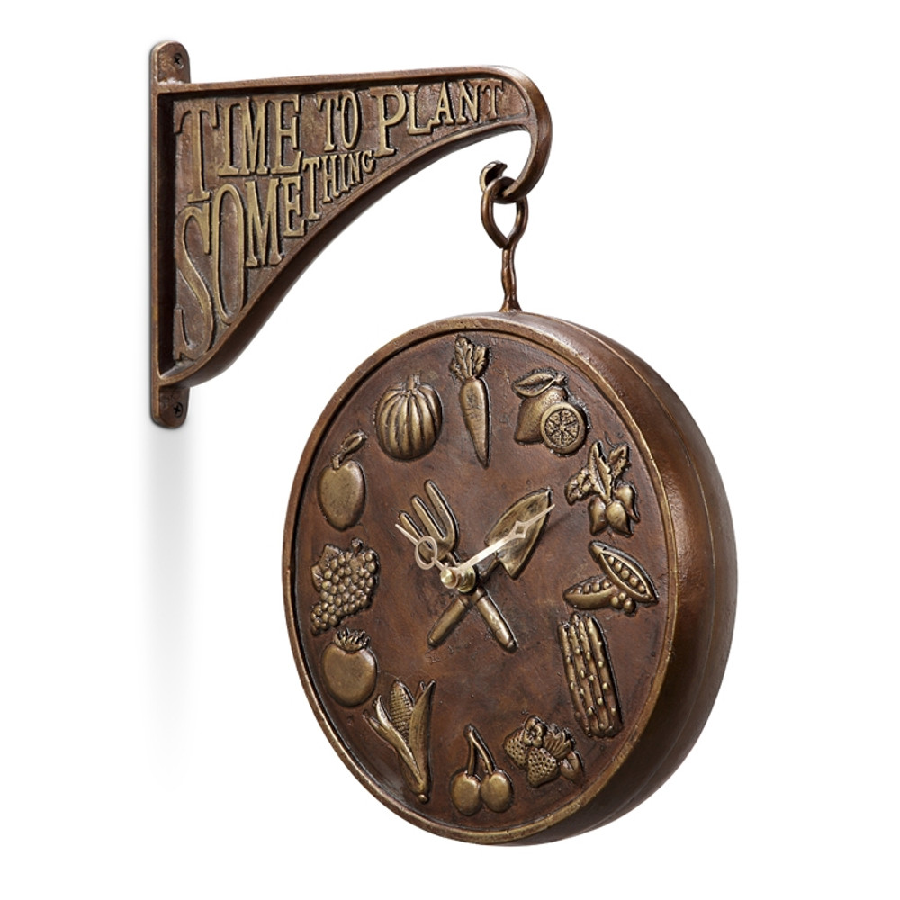 """""""Plant Something"""" Garden Clock & Thermometer"""
