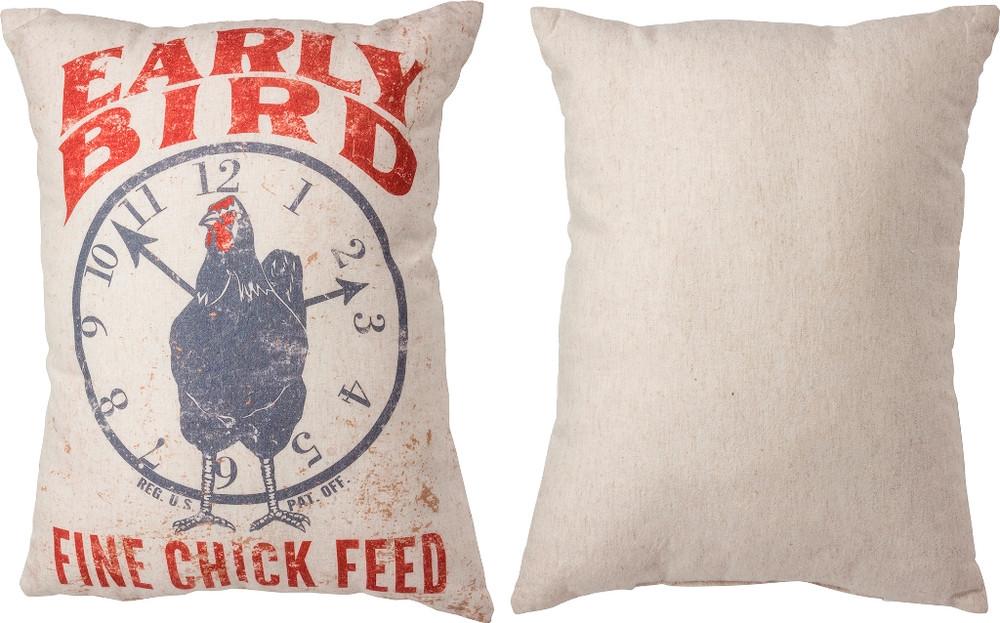 Feed Sack Pillow - Early Bird