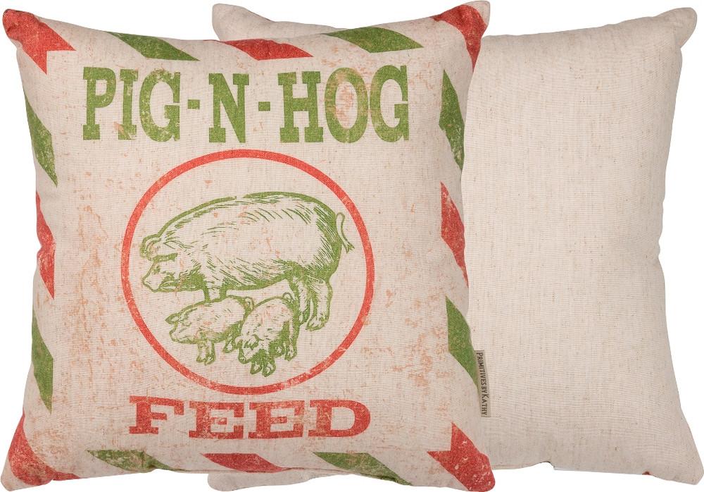 Feed Sack Pillow - Pig N Hog