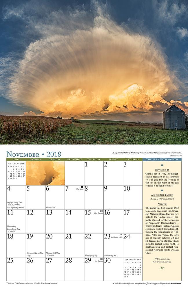 The 2018 Old Farmer's Almanac Weather Watcher's Calendar