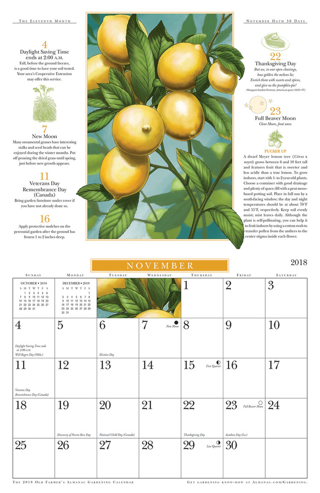 The 2018 Old Farmers Almanac Gardening Calendar The Old
