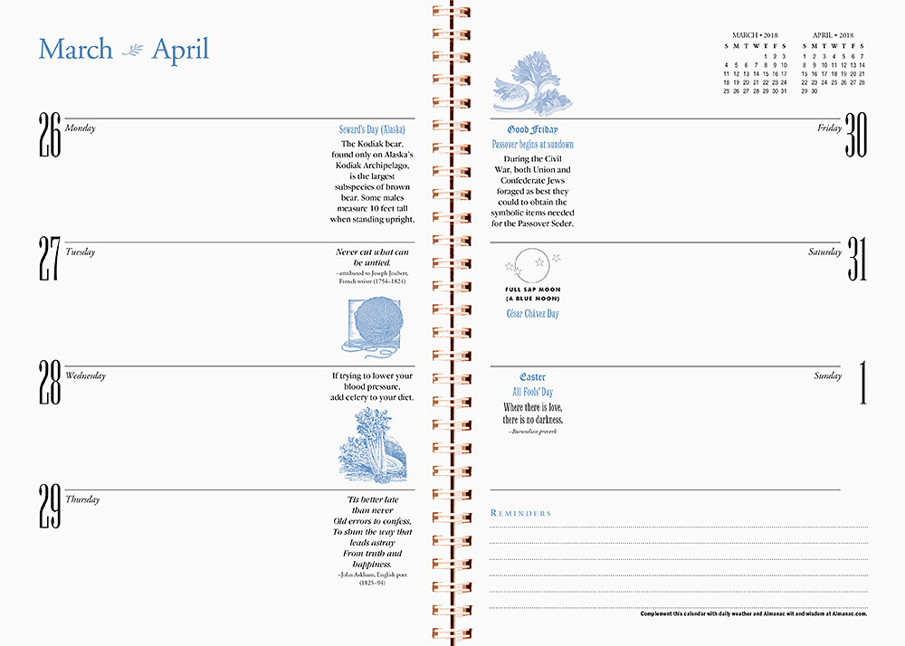 Planning and Engagement Calendar (interior view)