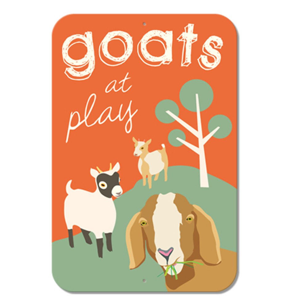 "Goats at Play Sign 9"" x 12"" (Orange)"