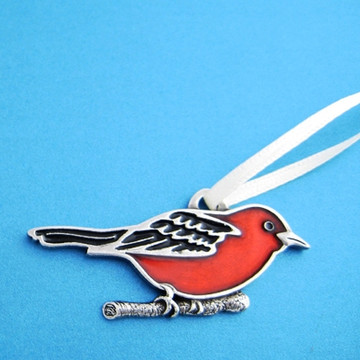Scarlet Tanager Pewter Ornament