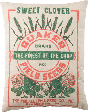 Feed Sack Pillow - Quaker Field Seeds