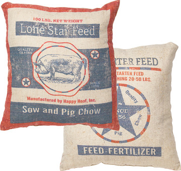 Feed Sack Pillow - Lone Star Feed