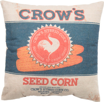 Feed Sack Pillow - Crows Seed Corn
