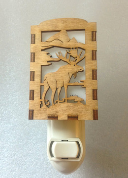 Village Craftsman Wooden Night Lights - Moose
