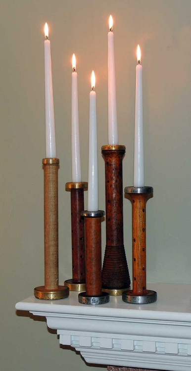 Antique Wood Bobbin Candlestick Set
