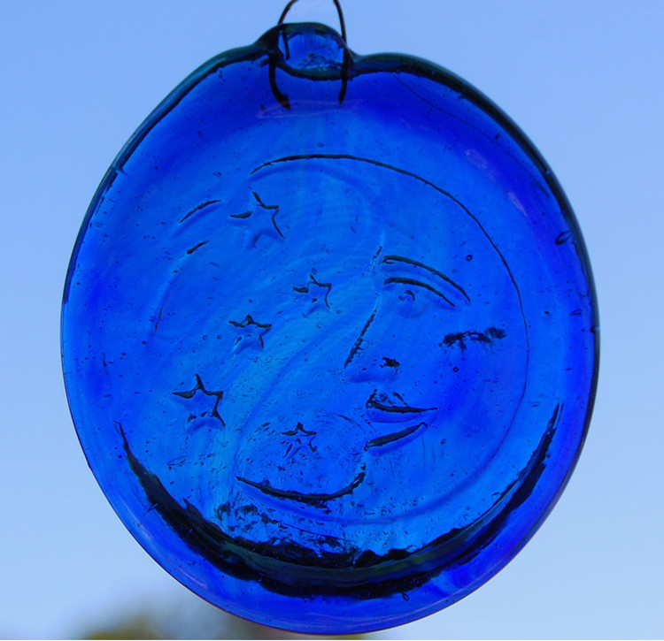 Handmade Glass Sun Catcher Coin Moon & Stars