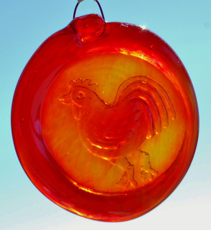 Handmade Glass Sun Catcher Coin Rooster