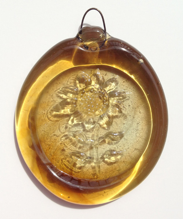 Handmade Glass Sun Catcher Coin Sunflower