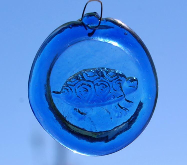 Handmade Glass Sun Catcher Coin Turtle