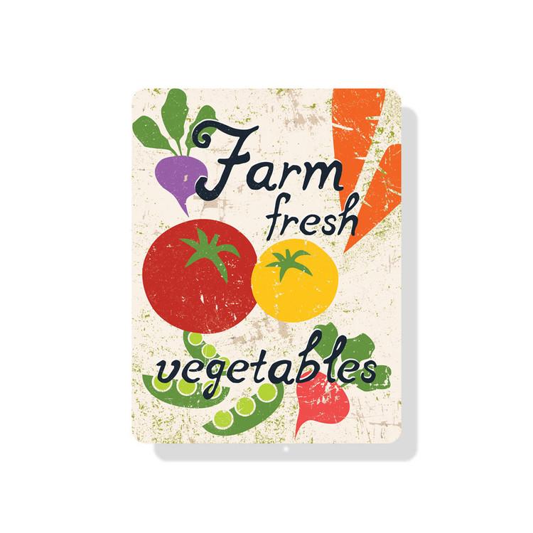 """Farm Fresh Vegetables Sign 9"""" x 12"""" (Seashell)"""