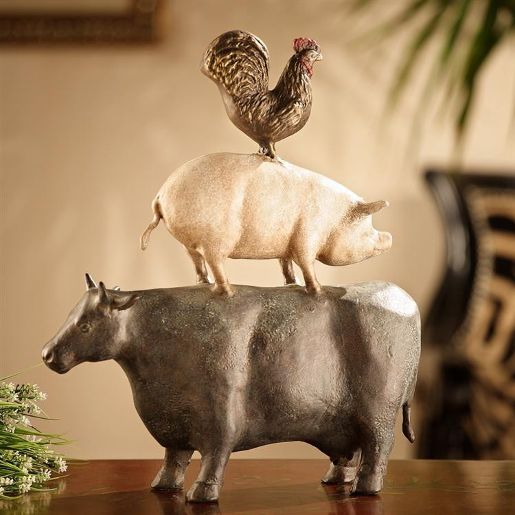 American Folk Art Trio - Chicken, Pig, Cow