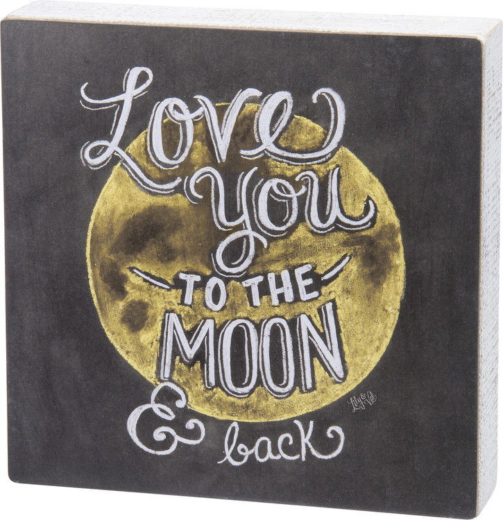 Chalk-Style Sign Moon and Back