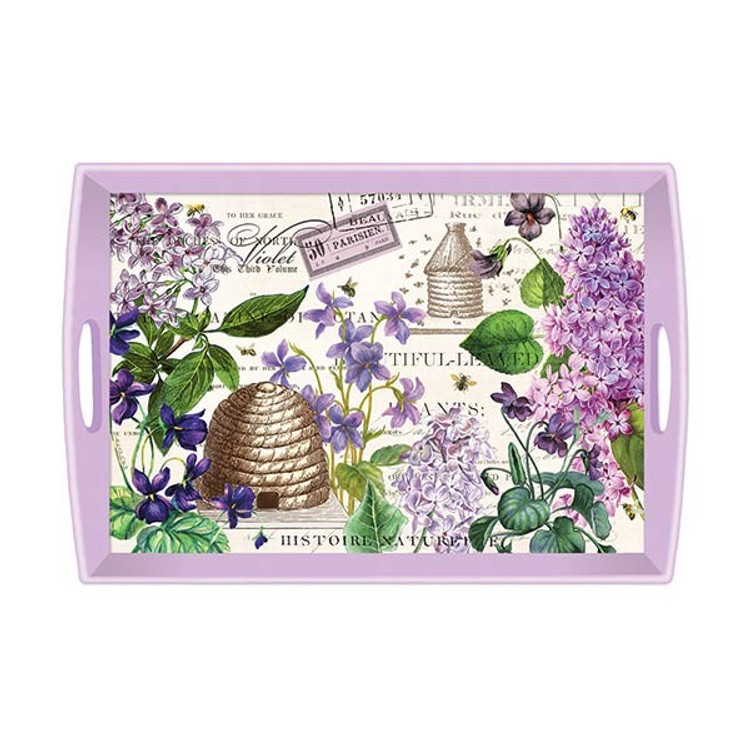 Lilac and Violets Decoupage Wooden Tray